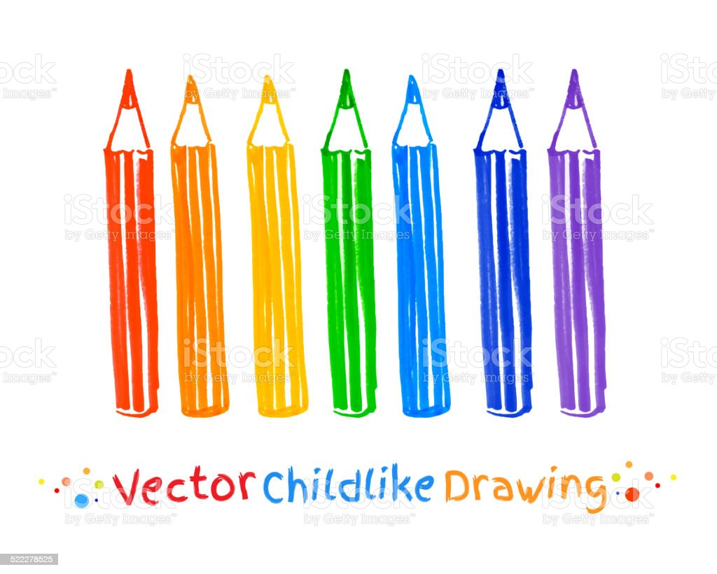 Childlike felt pen drawing of pencils. vector art illustration