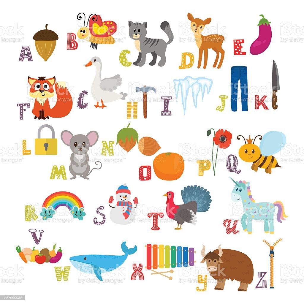 Children alphabet with cute cartoon animals vector art illustration