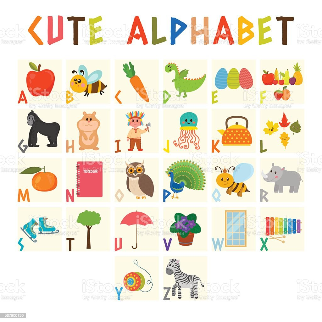 Children alphabet with cute cartoon animals vector art illustration