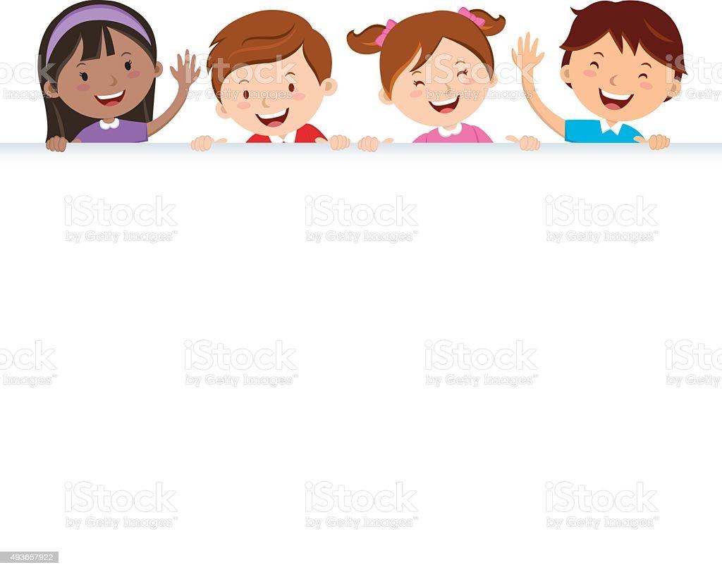Children and banner vector art illustration