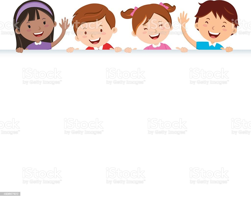 Children and banner vector art illustration