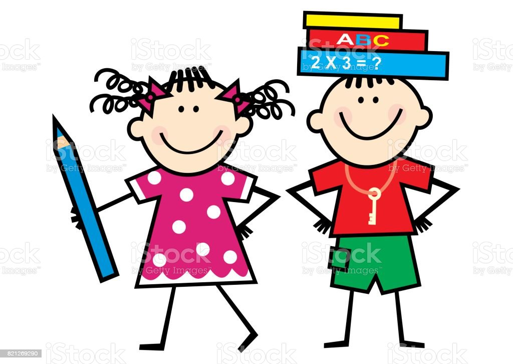 Children  and books and crayon, funny illustration vector art illustration