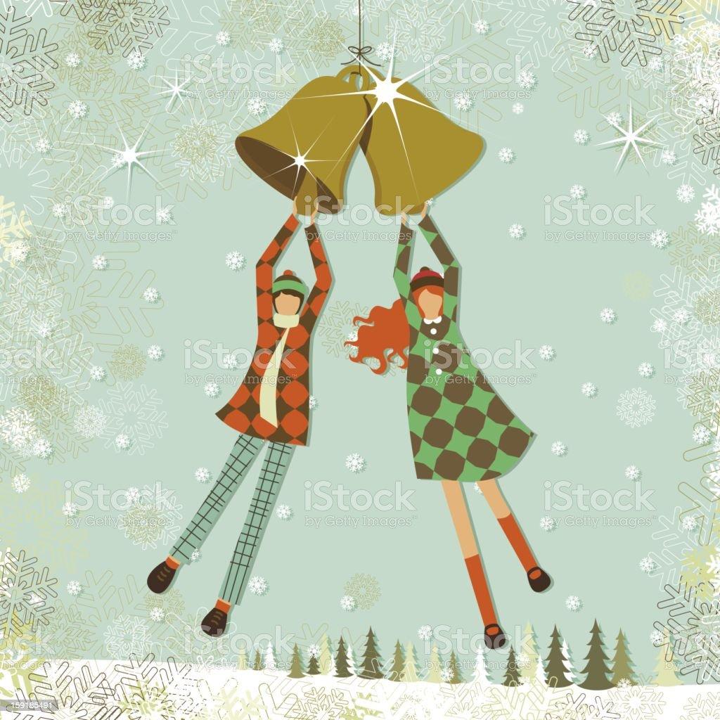 Children and christmas bells vector art illustration