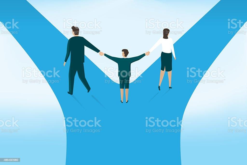 Children and divorce vector art illustration