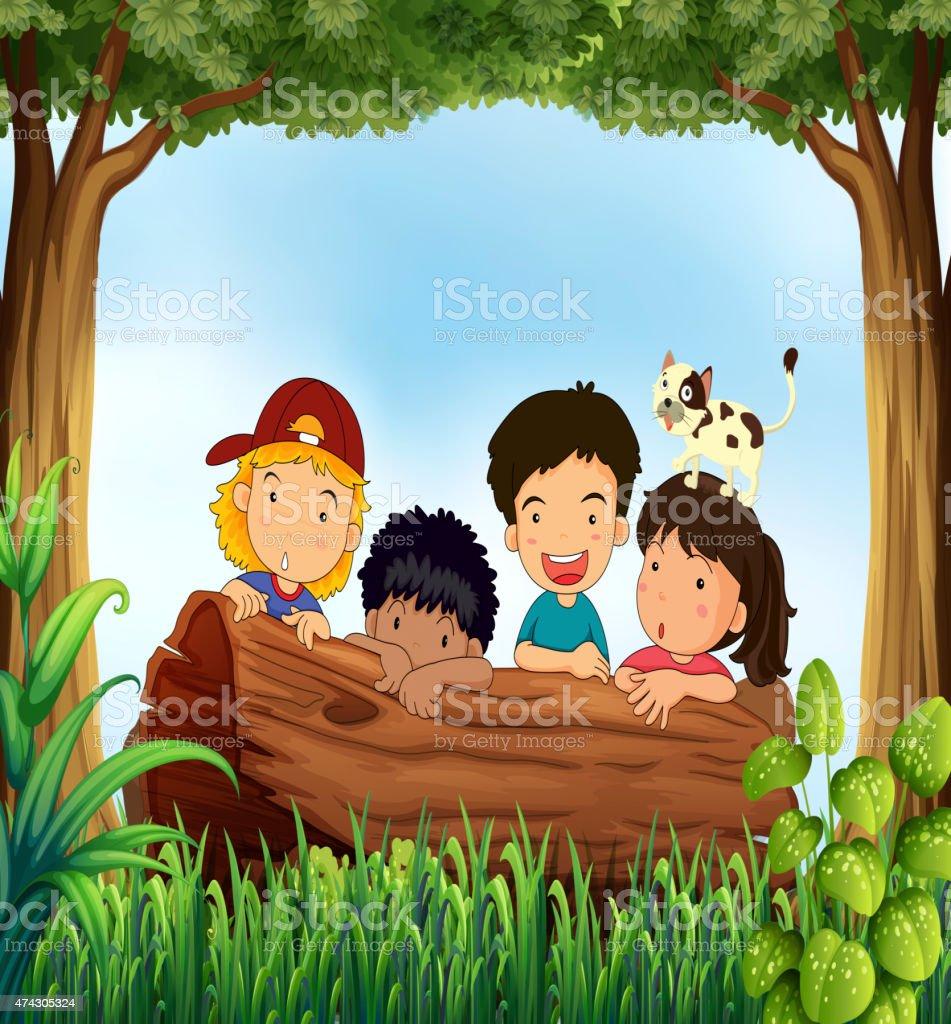 Children and forest vector art illustration