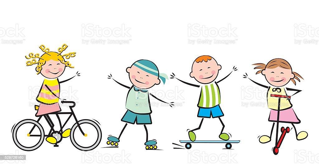 Children and sport vector art illustration