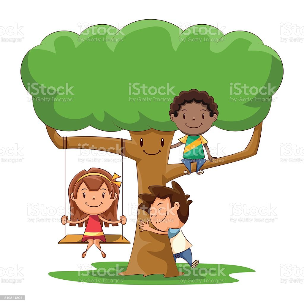Children and tree vector art illustration