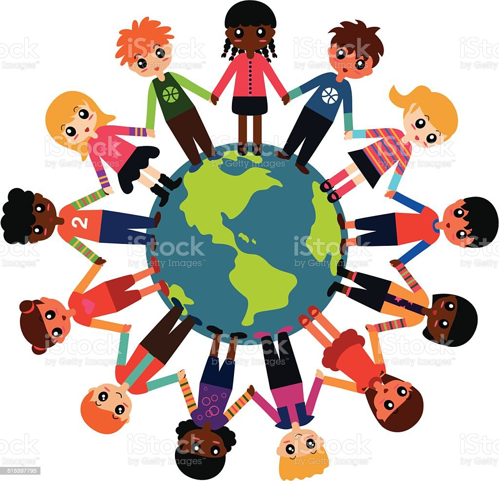 Children around the world vector art illustration