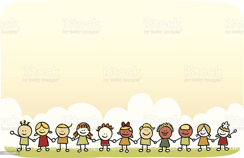 children at nature and holding hands cartoon illustration royalty-free stock vector art