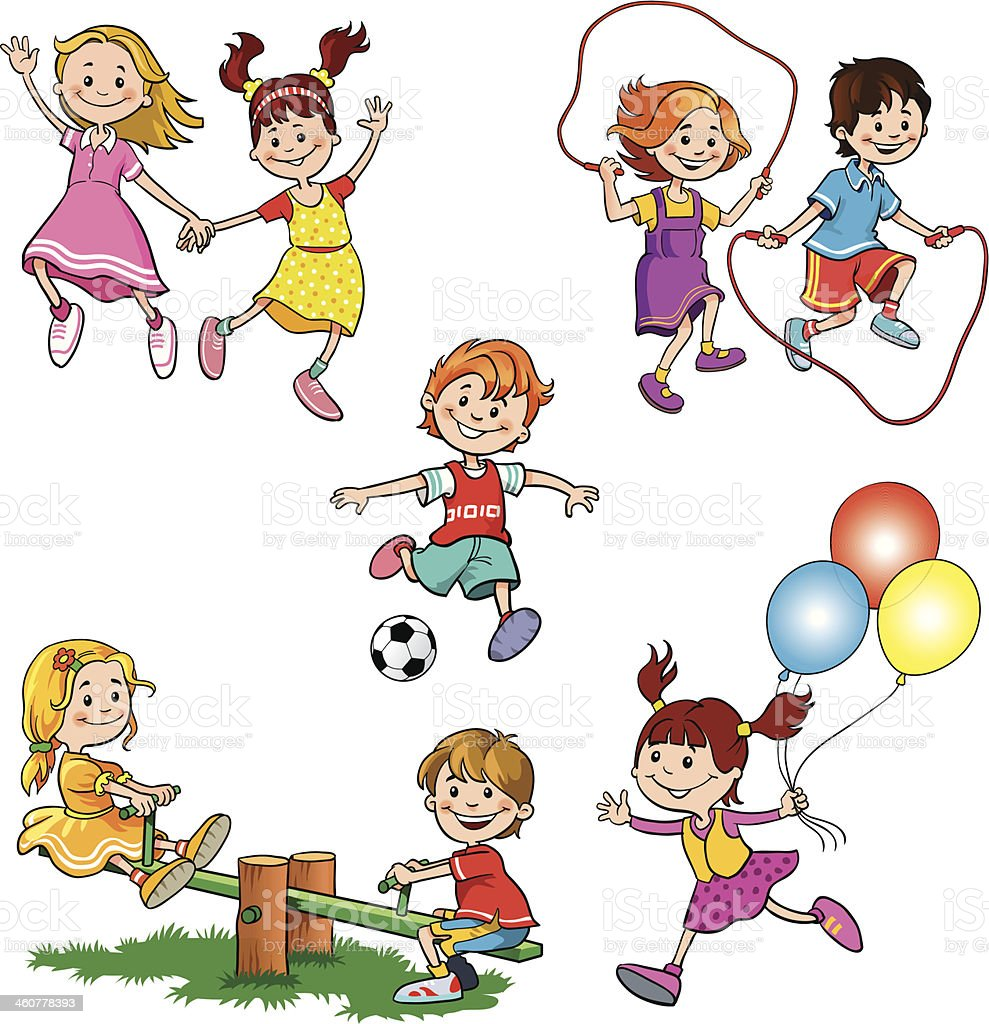 Children at Play vector art illustration