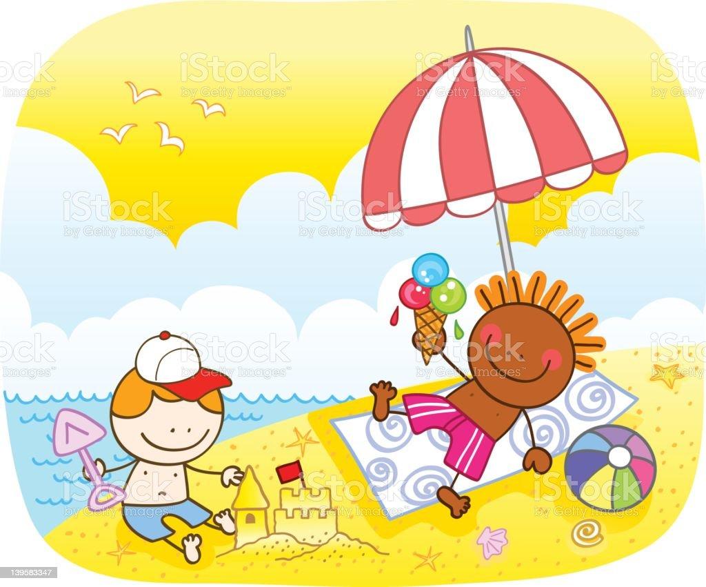enfants de lillustration de dessin animé dété sur la plage stock