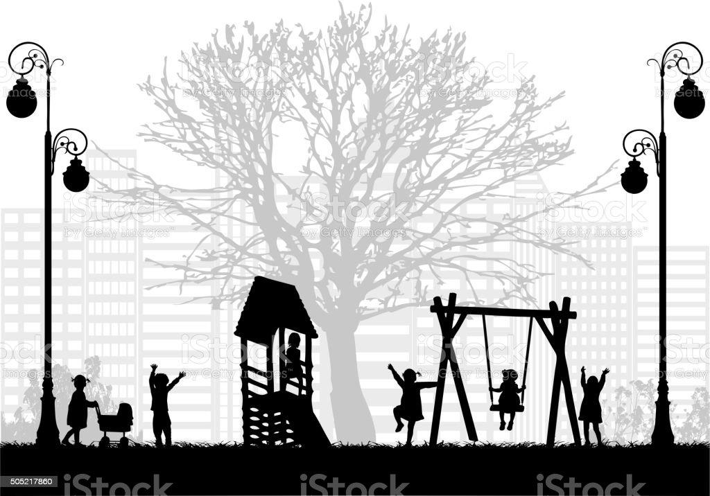Children at the playground. vector art illustration