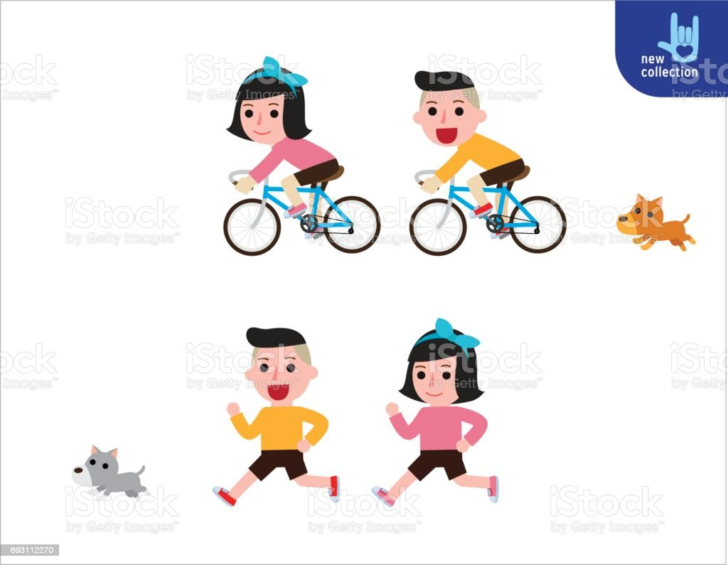 children biking and running. exercise concept. Vector flat style cartoon character icon design illustration infographic vector art illustration