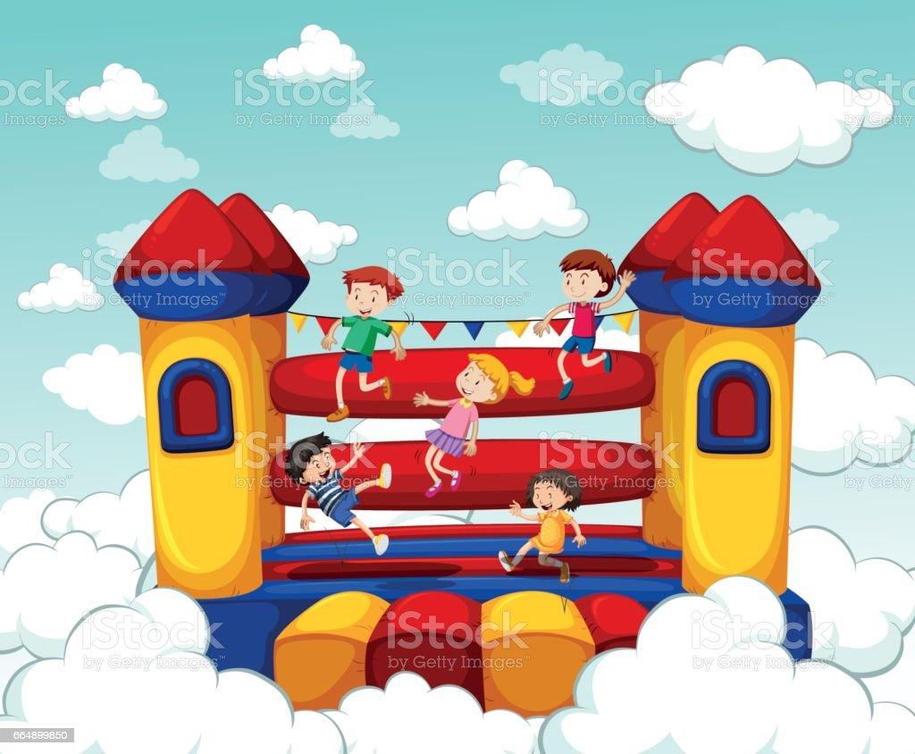 Children bouncing on rubber house vector art illustration