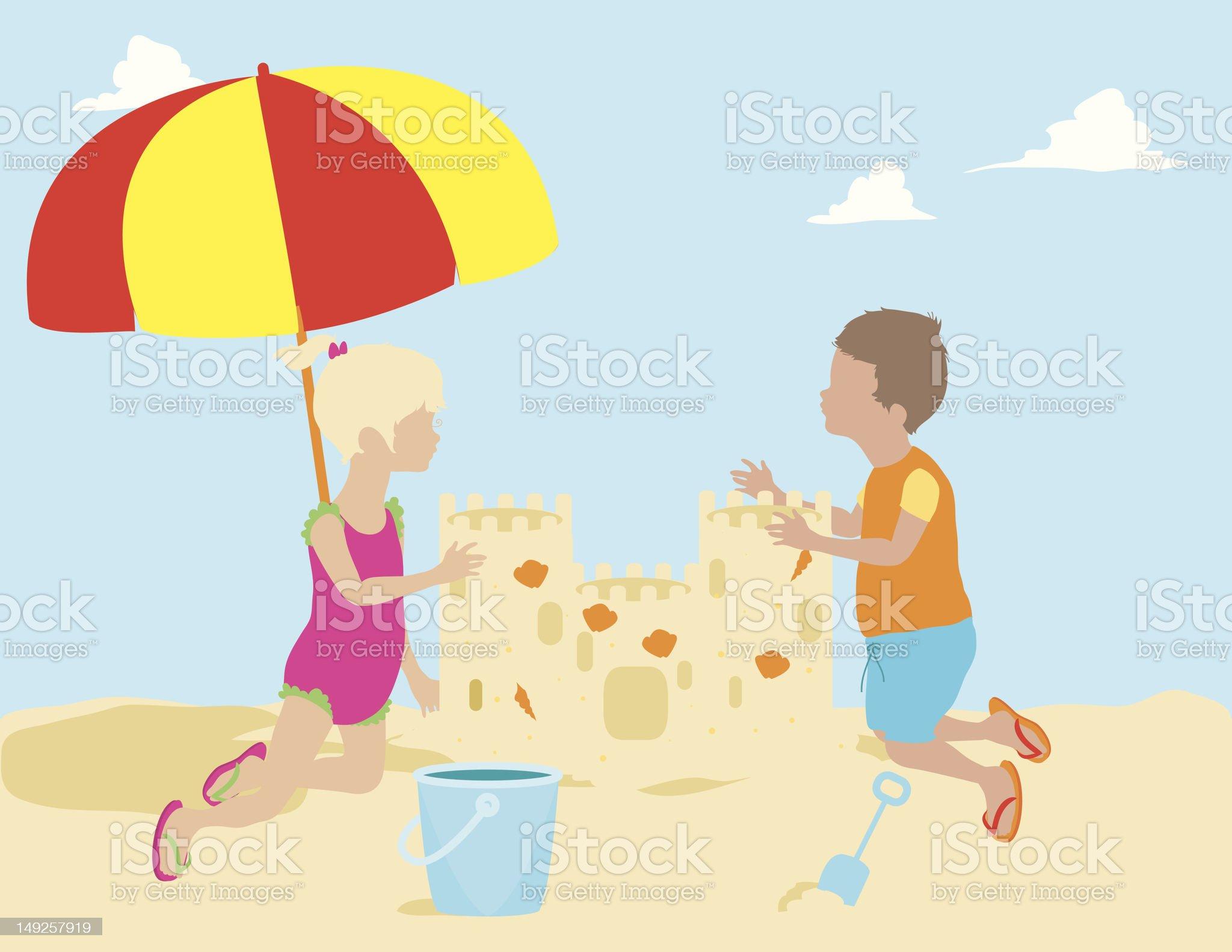 Children Building Sand Castle royalty-free stock vector art