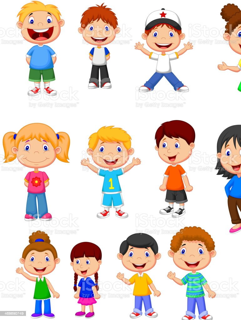 Children cartoon collection set vector art illustration