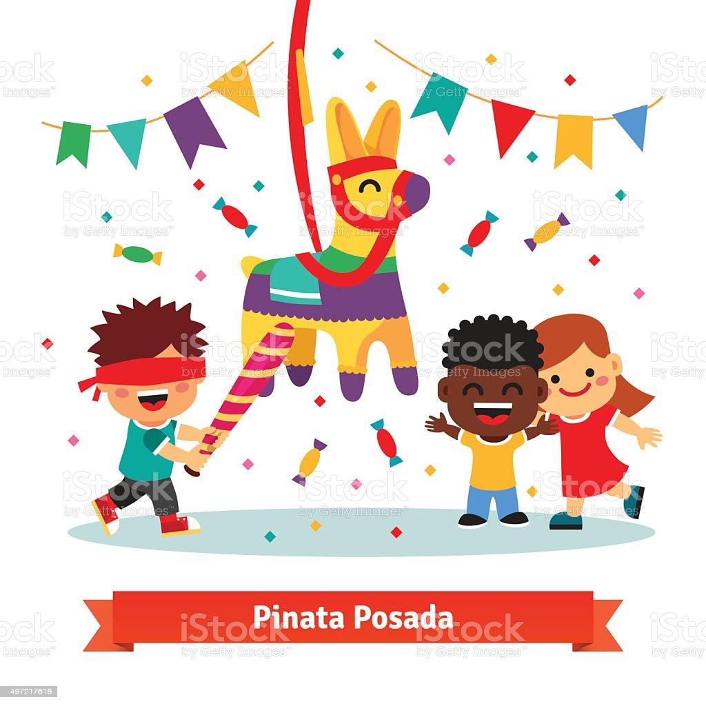 Children celebrating Posada by breaking Pinata vector art illustration