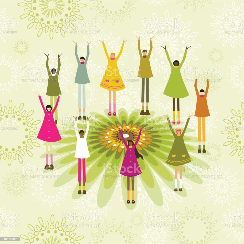 Children celebrating spring royalty-free stock vector art