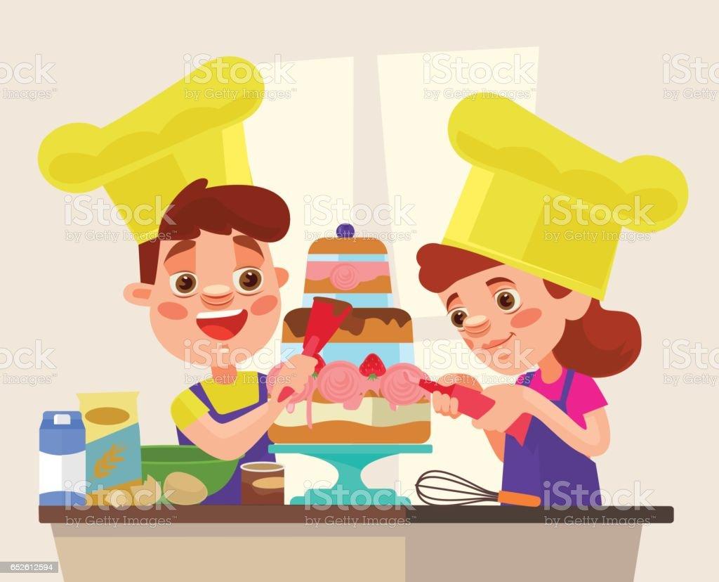 Children character bake cake vector art illustration