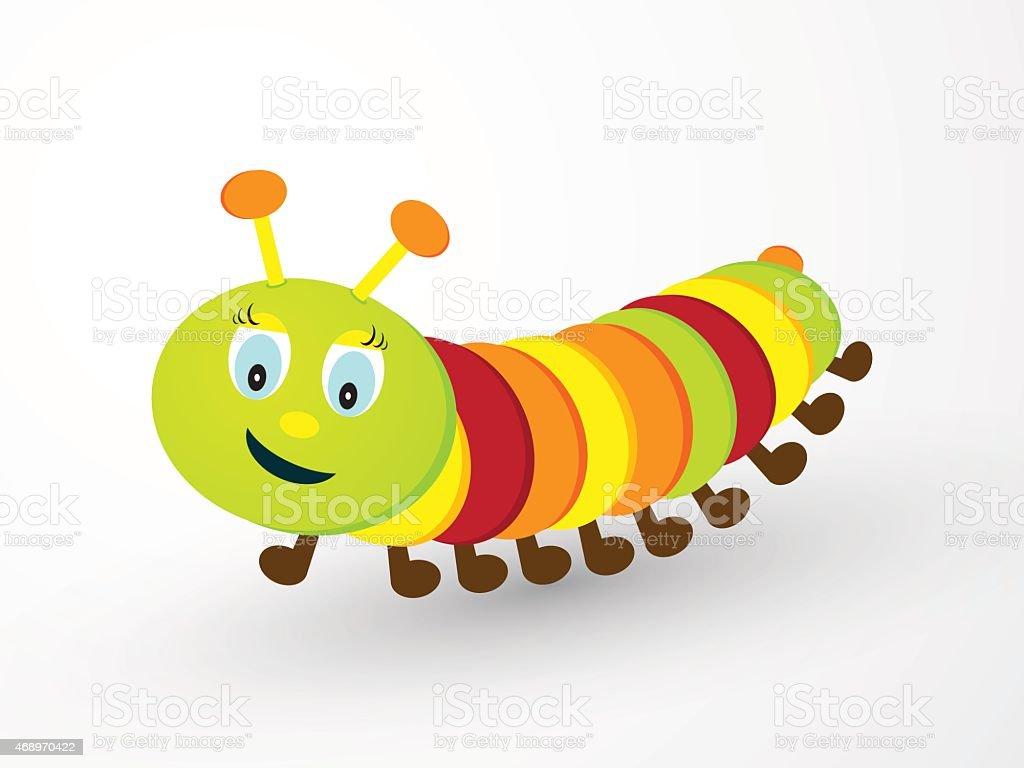 children cheerfully colored caterpillar vector art illustration