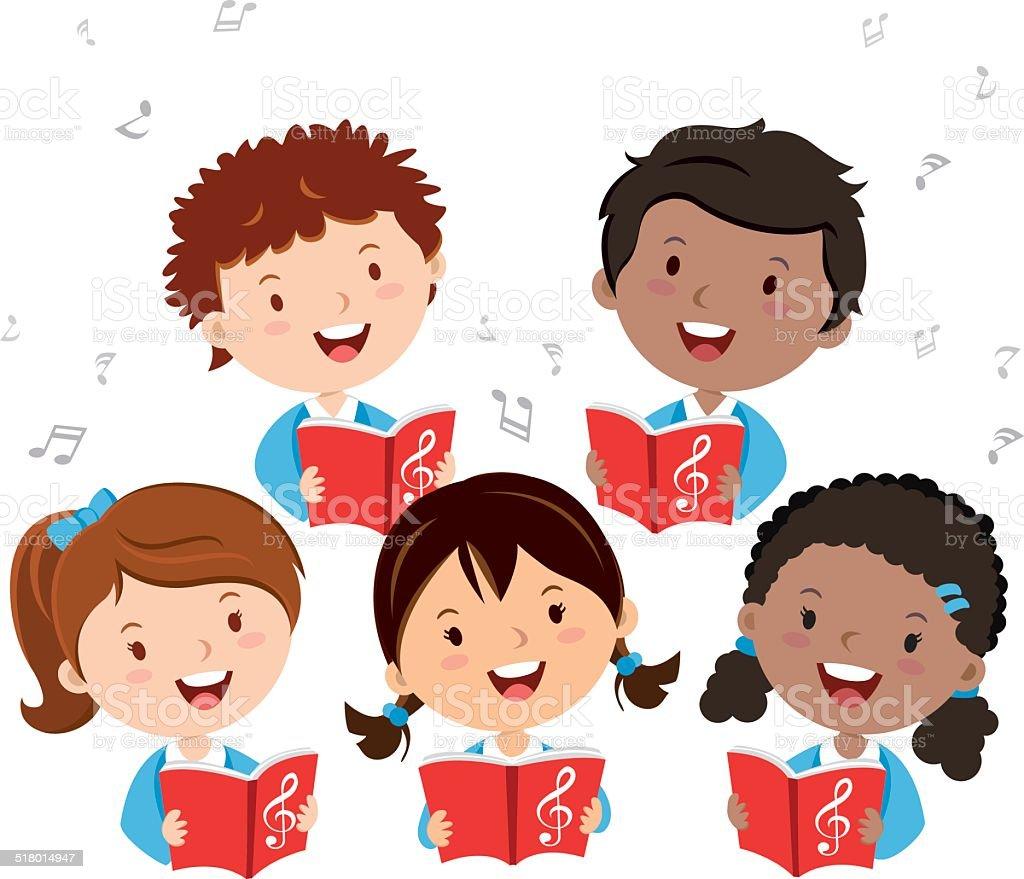 Children choir vector art illustration