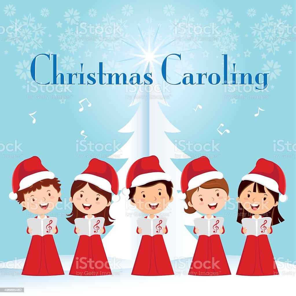 Children Christmas Caroling vector art illustration