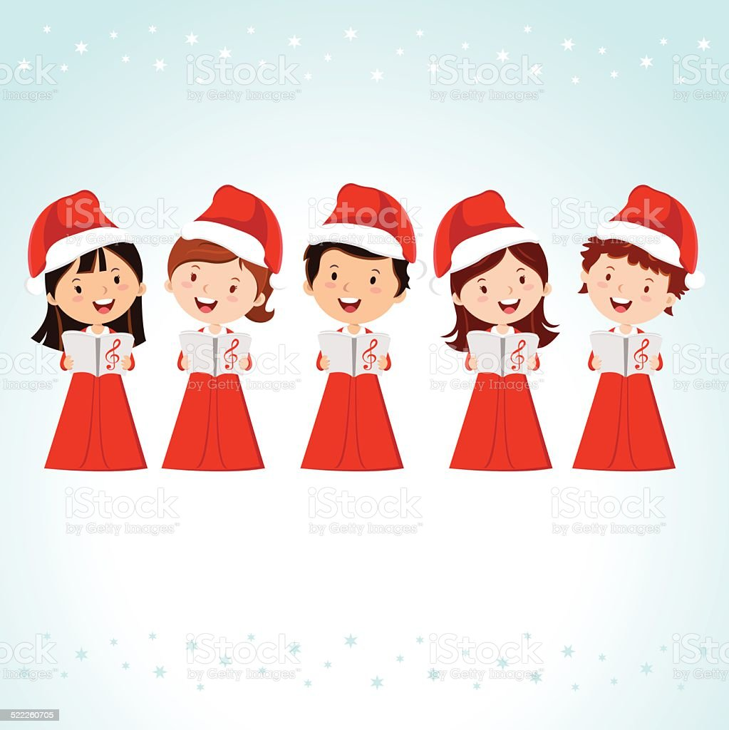 Children Christmas Choir vector art illustration