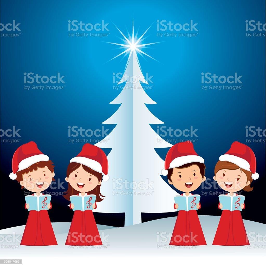 Children Christmas performance vector art illustration