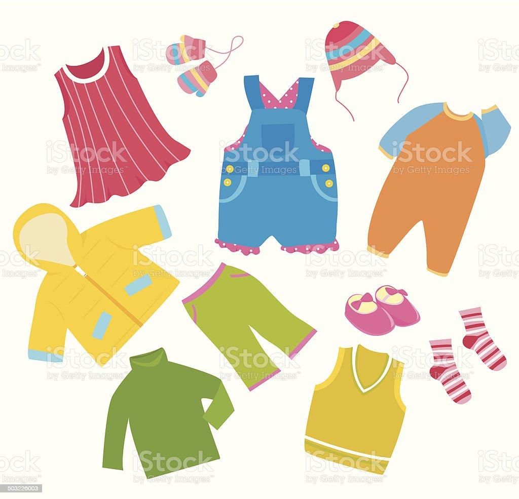 Children clothes collection vector art illustration