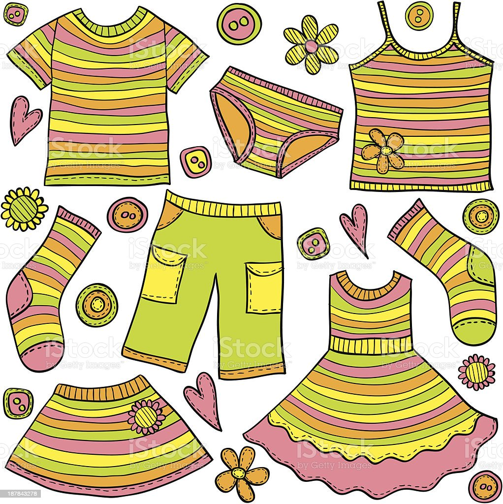 Children clothes doodles royalty-free stock vector art