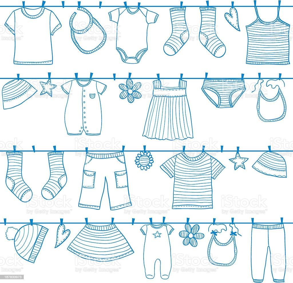 Children clothes on clothesline vector art illustration