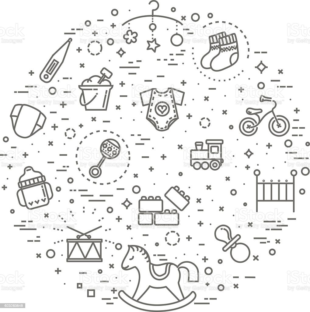 Children concept illustration, line flat design vector art illustration