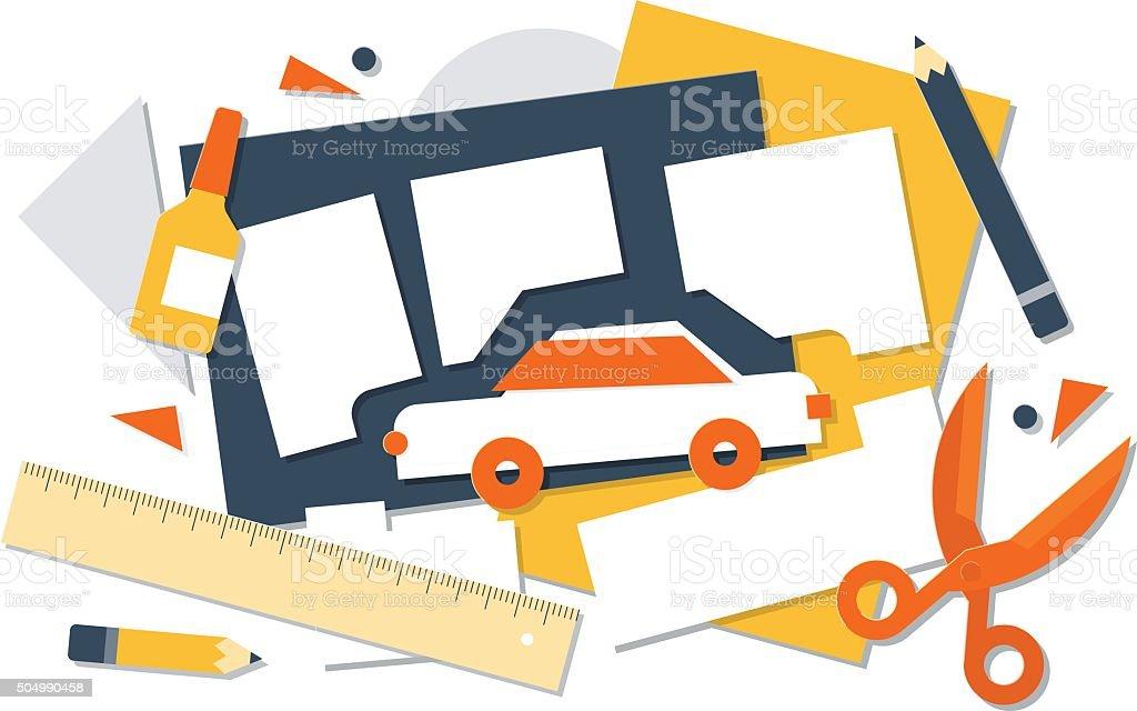 Children craft activities vector art illustration