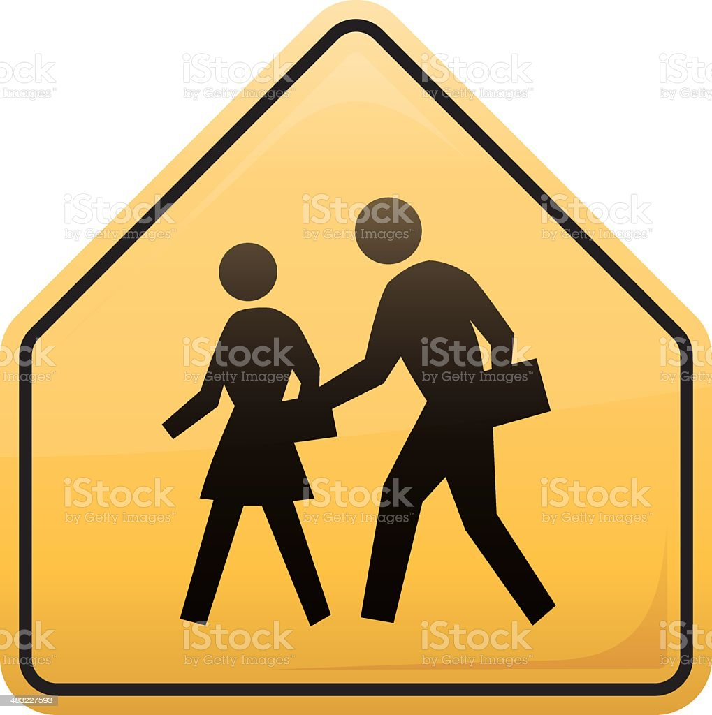 Children Crossing Symbol vector art illustration