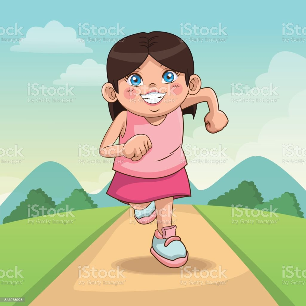children day happy. cute little girl on the meadow. child running on road vector art illustration