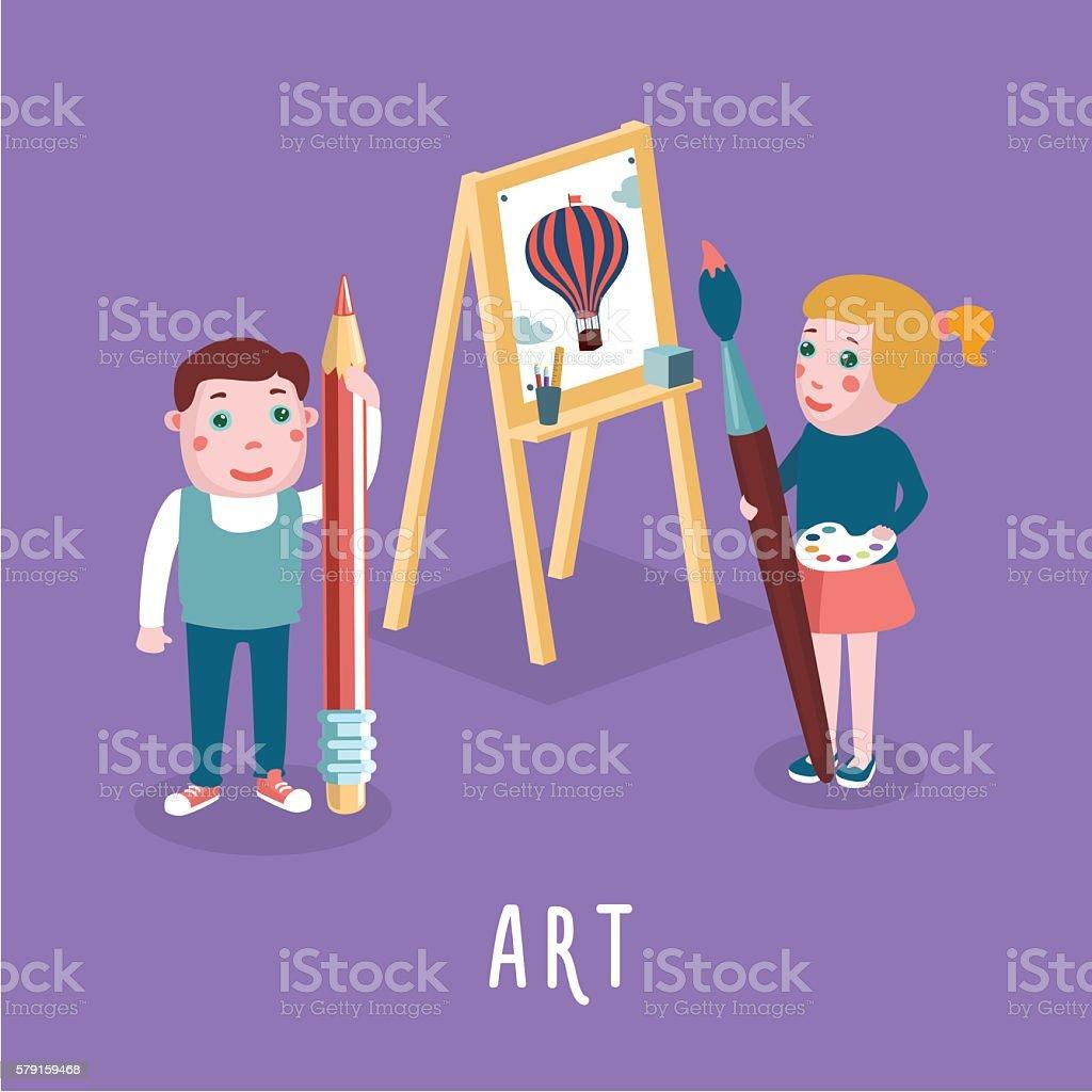 Children drawing. Boy and girl studing in an art class vector art illustration