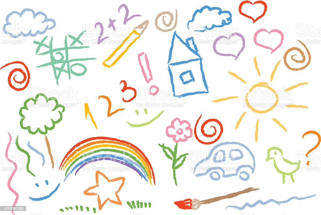 children drawing multicolored symbols vector set vector art illustration