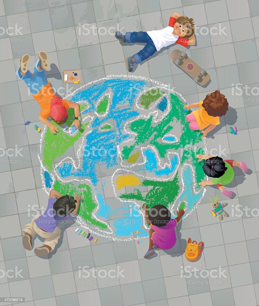 Children Drawing the World on Street vector art illustration