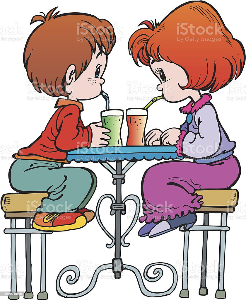 Children drink juice royalty-free stock vector art