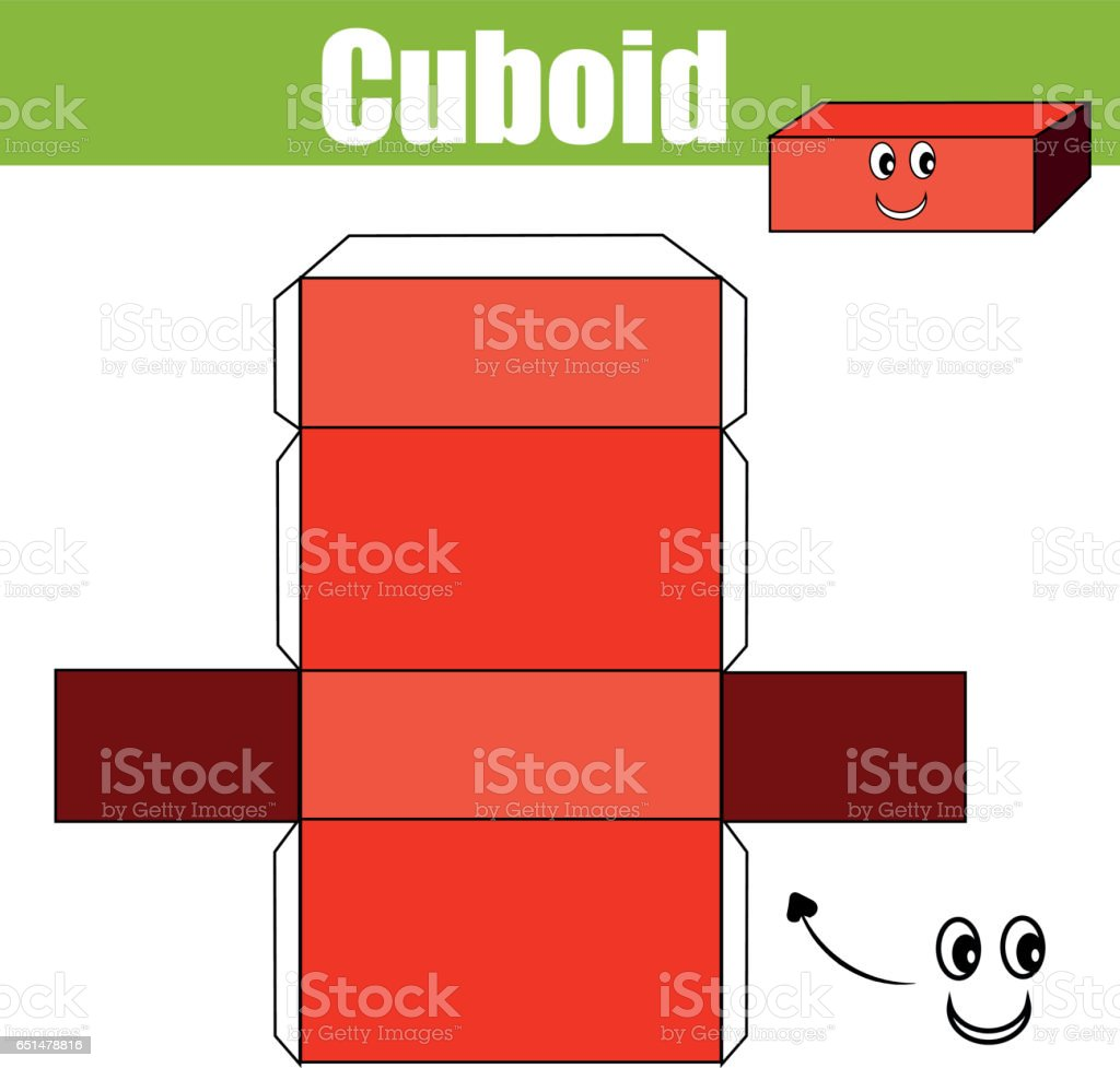 DIY children educational creative game. Make a cuboid figure with cut and glue. Learning geometric shapes. Creative printable tutorial or kids vector art illustration