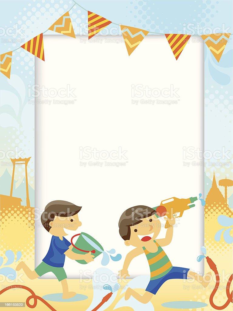 Children enjoy the songkran festival royalty-free stock vector art