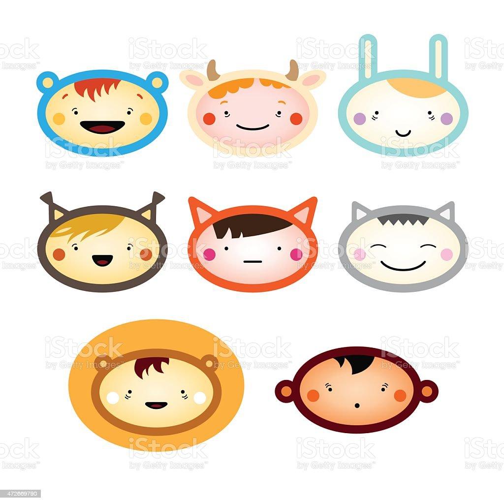 children faces in animal costumes vector art illustration