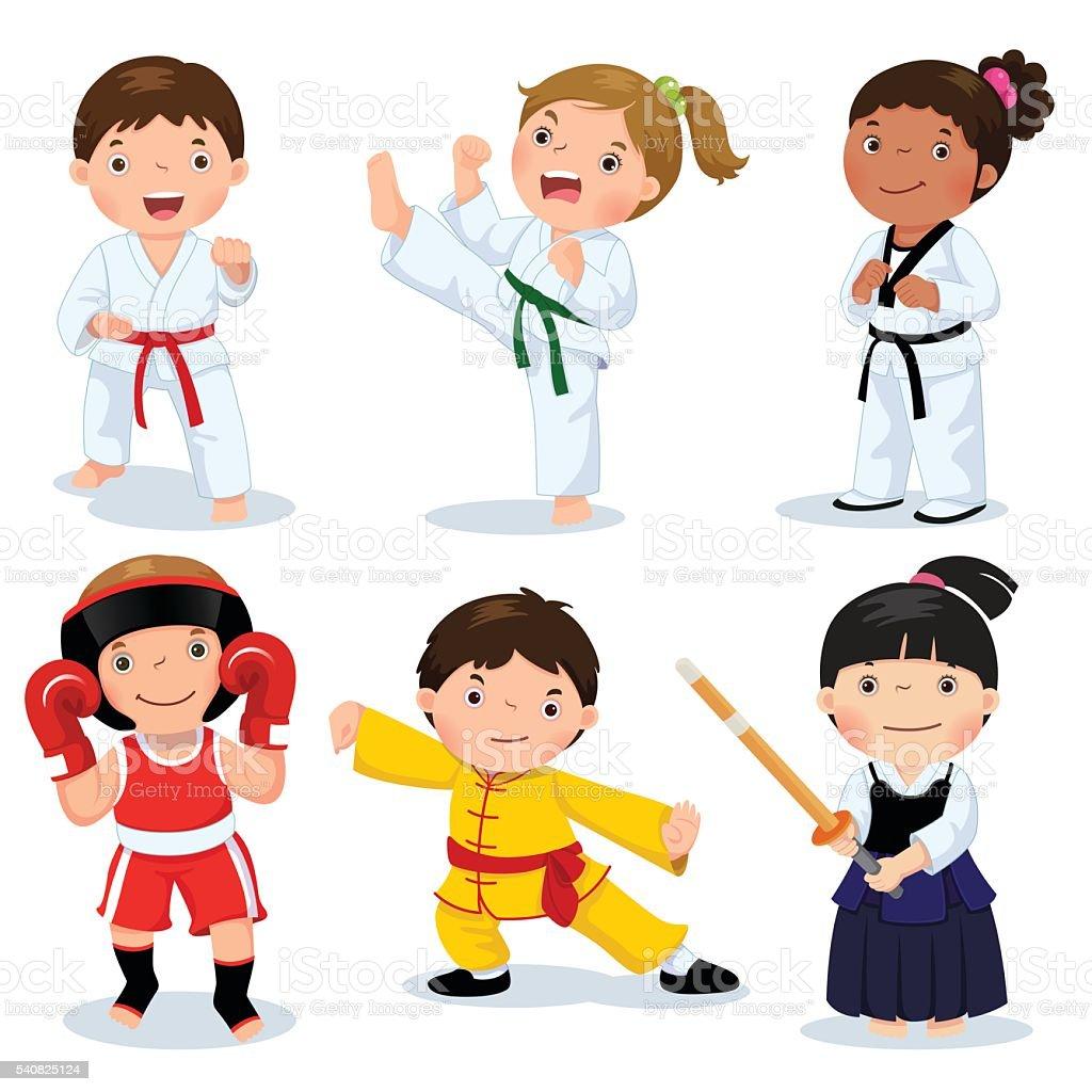 Children fighting, judo, taekwondo, karate, kung fu, boxing, kendo vector art illustration