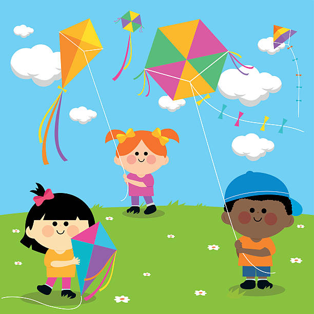 Kids With Flying Kites Clip Art, Vector Images & Illustrations ...