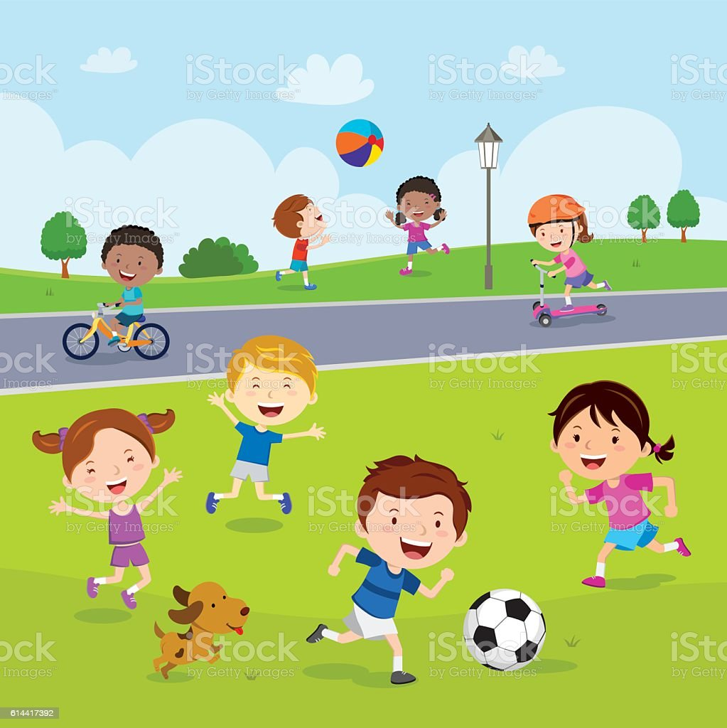 Children fun in the park vector art illustration