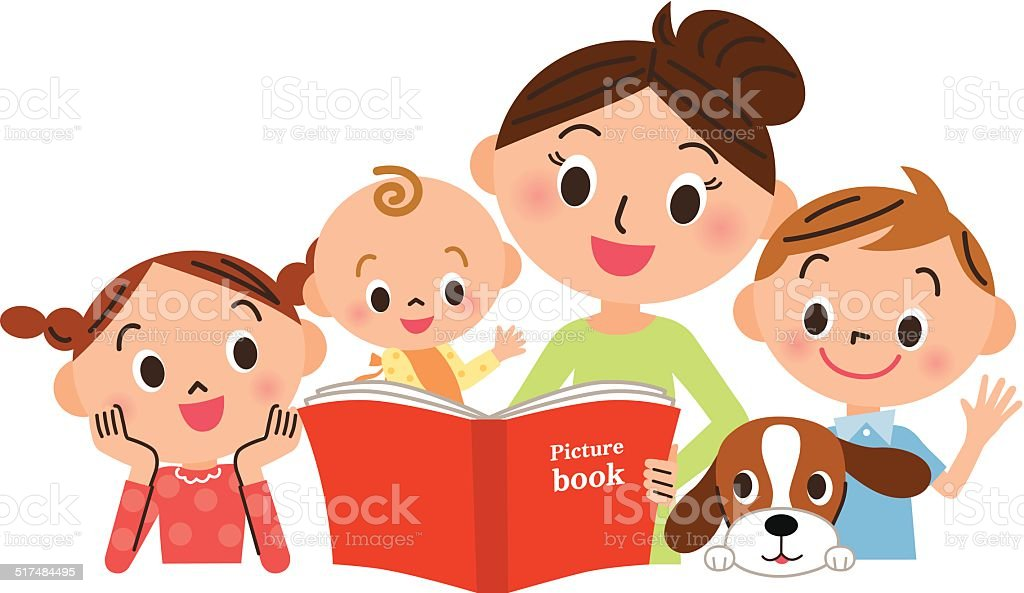 Children gathering for mother reading a picture book vector art illustration