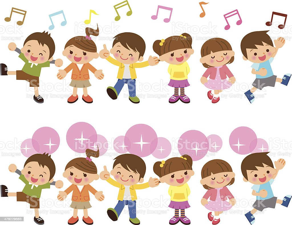 Children group vector art illustration