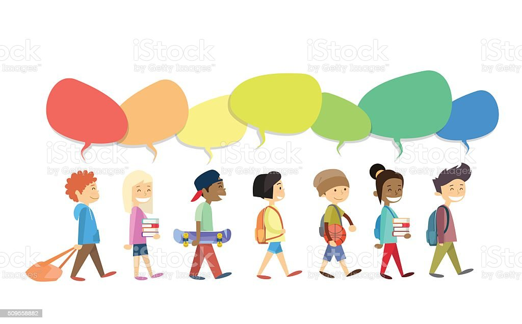 Children Group Walking Go With Colorful Chat Box Social Communication vector art illustration