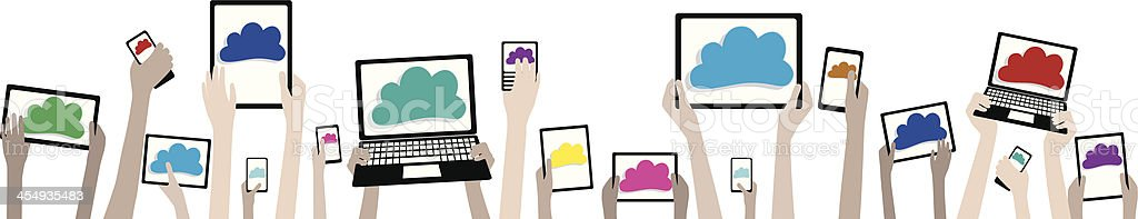 BYOD Children Hands with Computers and Clouds Banner vector art illustration