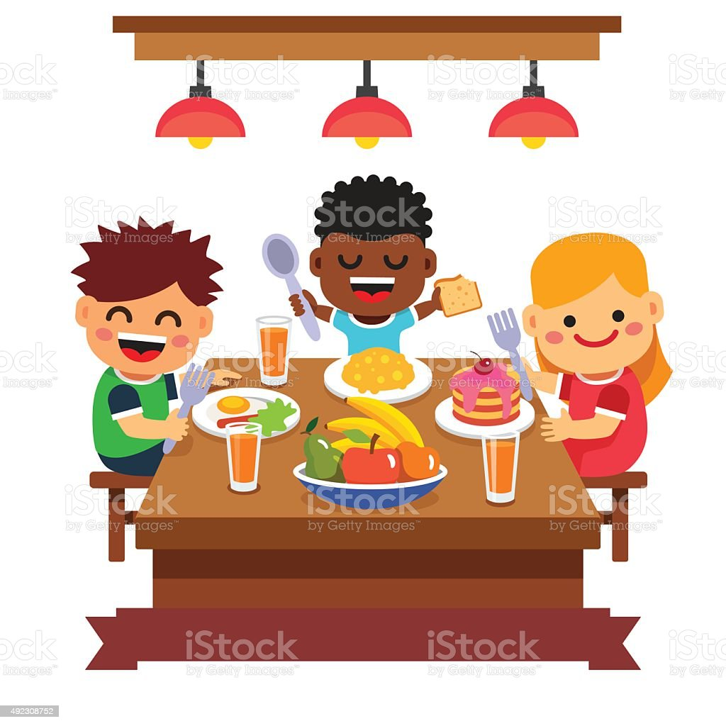 Children having dinner at the kindergarten of home vector art illustration